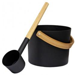 Seau et louche noirs pour sauna