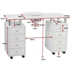 Dimensions table manucure MR01