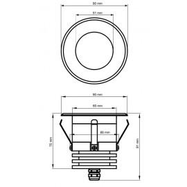 Schéma spot rond LED sauna
