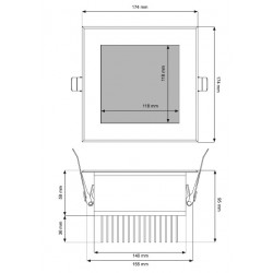 Dimensions spot LED sauna