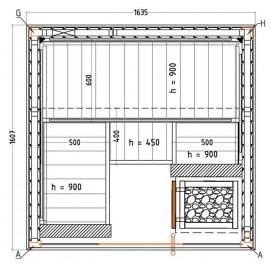 Plan sauna Harvia S1616SV
