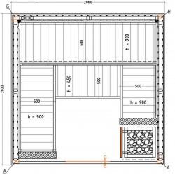 Sauna traditionnel S2020SV plan