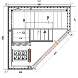 Plan sauna d'angle vitré S1616CV
