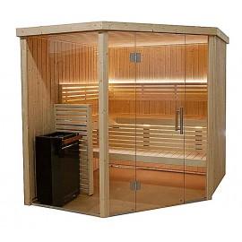 Sauna d'angle vitré 5 places
