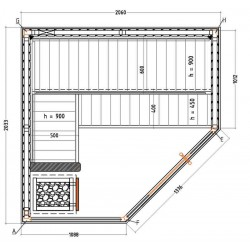 Dimensions sauna angle vitrée S2020CV