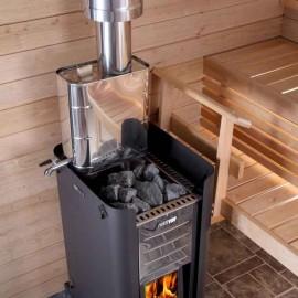 Réserve d'eau sur conduit fumée de poêle sauna