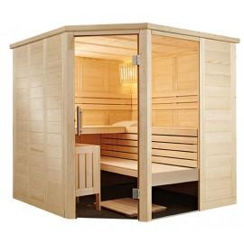 Sauna massif avec porte d'angle A2020R