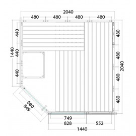 Plan du sauna massif avec porte d'angle A2020R