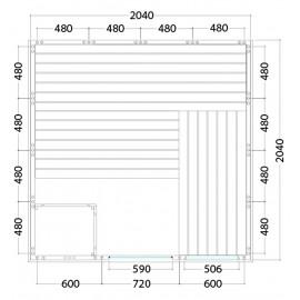 Plan du sauna en panneaux de bois massif