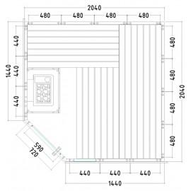 Plan et dimensions sauna massif K2020R