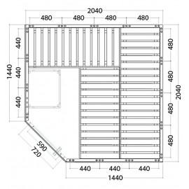 Plan sauna bois massif W2020R