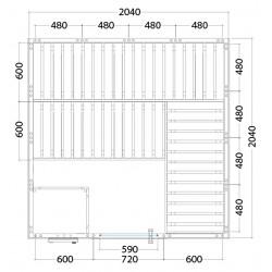 Plan sauna massif carré