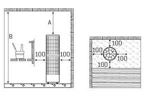 Distance securite poele sauna cilindro pro