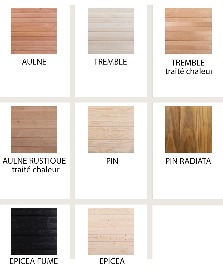 Essence bois sauna