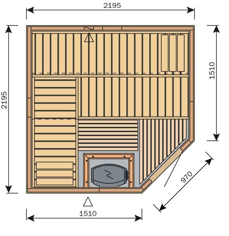 Plan grand sauna carré d'angle