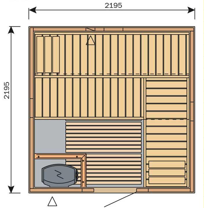 Plan d'un grand sauna carré