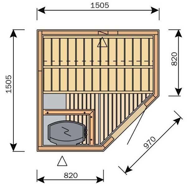 Plan d'un petit sauna carré avec porte d'angle