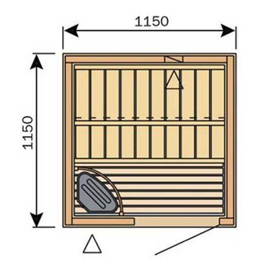 Plan d'un petit sauna carré