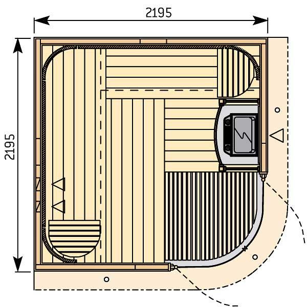 Plan sauna avec double porte verre cintré