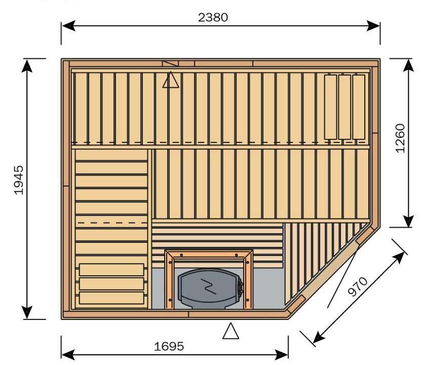 Plan sauna rectangulaire avec porte d'angle