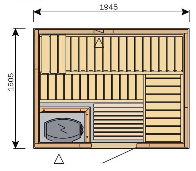 Plan d'un sauna de forme rectangulaire